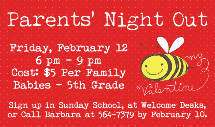 Parents' Night Out - Feb 12 2016 6:00 PM