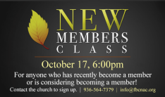 New Members Class - Oct 17 2018 6:00 PM